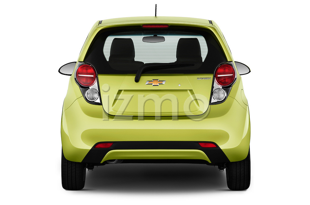 Straight rear view of a 2013 Chevrolet Spark LS