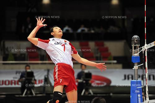 Zhong Weijun (CHN), ..DECEMBER 2,2011 - Volleyball : FIVB Men's Volleyball World Cup 2011,4th Round Tokyo(B) during match between Cuba 3-2 China at Tokyo Metropolitan Gymnasium, Tokyo, Japan. (Photo by Jun Tsukida/AFLO SPORT) [0003]