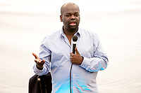 14th July 2019: Comedian Daliso Chaponda performs his show 'Blah Blah Blacklist' on day 2 of the 2019 Comedy Crate Festival, Northampton.