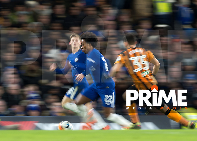 Willian of Chelsea goes past Kevin Stewart of Hull City during the FA Cup 5th round match between Chelsea and Hull City at Stamford Bridge, London, England on 16 February 2018. Photo by Vince  Mignott / PRiME Media Images.