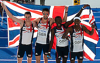 23 AUG 2009 - BERLIN, GER - The British Mens 4 x 400m Relay team of Rob Tobin, Martyn Rooney, Michael Bingham and Conrad Williams pose for photographs after winning silver at the World Athletics Championships (PHOTO (C) NIGEL FARROW)