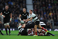 Andy Ellis of Barbarians passes during the 125th Anniversary Match between Barbarians and New Zealand at Twickenham Stadium on Saturday 4th November 2017 (Photo by Rob Munro/Stewart Communications)
