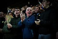 Leeds United fans watch celebrate their side's equalising goal<br /> <br /> Photographer Alex Dodd/CameraSport<br /> <br /> The EFL Sky Bet Championship - Preston North End v Leeds United - Tuesday 22nd October 2019 - Deepdale Stadium - Preston<br /> <br /> World Copyright © 2019 CameraSport. All rights reserved. 43 Linden Ave. Countesthorpe. Leicester. England. LE8 5PG - Tel: +44 (0) 116 277 4147 - admin@camerasport.com - www.camerasport.com