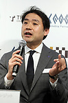 April 27, 2017, Tokyo, Japan - Toru Asada, chairman of Mitsukoshi Isetan Transit, a subsidiary of Mitsukoshi Isetan Holdings speaks before press as the company and Japanese SNS giant LINE will open a pop-up cafe and character goods shop featuring LINE's famous characters in Tokyo on Thursday, April 27, 2017. The Shinjuku Box, run by Mitsukoshi Isetan Transit, will open cafes of Taiwan's ice dessert shop Ice Monster and US chocolate shop Max Brenner using LINE characters and LINE's character goods shop from April 28 near Shinjuku station.   (Photo by Yoshio Tsunoda/AFLO) LwX -ytd-