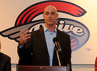 Ben Crockett, director of player development for the Boston Red Sox, speaks to fans of the Greenville Drive at the team's annual Hot Stove Event on Tuesday, January 29, 2013, in Greenville, South Carolina. (Tom Priddy/Four Seam Images)