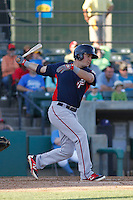 Potomac Nationals infielder Jimmy Yezzo (8) at bat during a game against the Myrtle Beach Pelicans at Ticketreturn.com Field at Pelicans Ballpark on May 23, 2015 in Myrtle Beach, South Carolina.  Myrtle Beach defeated Potomac 7-3. (Robert Gurganus/Four Seam Images)