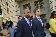 June 10, 2013  (Washington, DC)  Former D.C. Council member Michael A. Brown (left) leaving the U.S. District Courthouse in the District of Columbia after pleading guilty to one count of accepting $55,000 in bribes.  (Photo by Don Baxter/Media Images International)