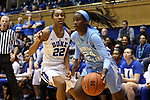 24 January 2016: North Carolina's Destinee Walker (24) and Duke's Oderah Chidom (22). The Duke University Blue Devils hosted the University of North Carolina Tar Heels at Cameron Indoor Stadium in Durham, North Carolina in a 2015-16 NCAA Division I Women's Basketball game. Duke won the game 71-55.