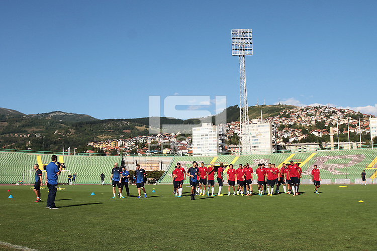 SARAJEVO, Bosnia-Herzegovina - Tuesday August 13, 2013: US Men's National team training session at Grbavica Stadium.<br />