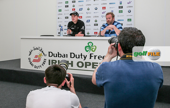 The 2016 Masters Champion Golfer Danny Willett (ENG) in media interview, during Tuesday's practice round ahead of the 2016 Dubai Duty Free Irish Open Hosted by The Rory Foundation which is played at the K Club Golf Resort, Straffan, Co. Kildare, Ireland. 17/05/2016. Picture Golffile | David Lloyd.<br /> <br /> All photo usage must display a mandatory copyright credit as: &copy; Golffile | David Lloyd.