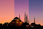 Suleymaniye Sundown Triptych 05 - Suleymaniye Mosque and Rustem Pasa Mosque at sundown, from Eminonu, Istanbul, Turkey. A combination of three shots, each taken five minutes apart at sundown.