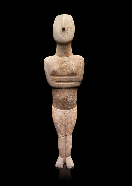 Cycladic Canonical type, Spedos variety female figurine statuette. Early Cycladic Period II, (2800-2300 BC), 'Steiner Master'.  Museum of Cycladic Art Athens, cat no 654.   Against black