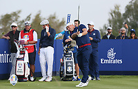 Alex Noran (Team Europe) plays to the 8th during Friday's Foursomes, at the Ryder Cup, Le Golf National, Île-de-France, France. 28/09/2018.<br /> Picture David Lloyd / Golffile.ie<br /> <br /> All photo usage must carry mandatory copyright credit (© Golffile | David Lloyd)