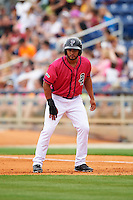Pensacola Blue Wahoos outfielder Juan Silva (27) leads off first during the first game of a double header against the Biloxi Shuckers on April 26, 2015 at Pensacola Bayfront Stadium in Pensacola, Florida.  Biloxi defeated Pensacola 2-1.  (Mike Janes/Four Seam Images)