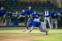 AZL Cubs catcher Marcus Mastrobuoni (5) slides head first into home plate against the AZL Giants on September 5, 2017 at Scottsdale Stadium in Scottsdale, Arizona. AZL Cubs defeated the AZL Giants 10-4 to take a 1-0 lead in the Arizona League Championship Series. (Zachary Lucy/Four Seam Images)