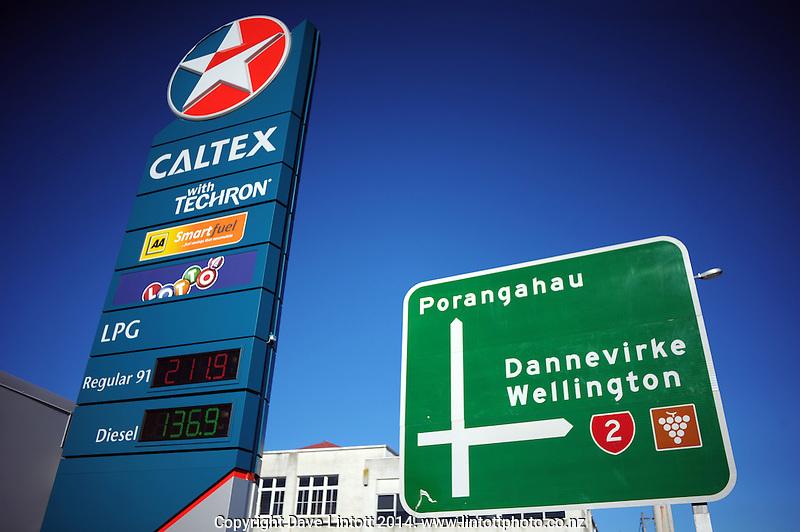 Petrol price sign at Caltex Service Station, Waipukarau, New Zealand on Sunday, 13 July 2014. Photo: Dave Lintott / lintottphoto.co.nz