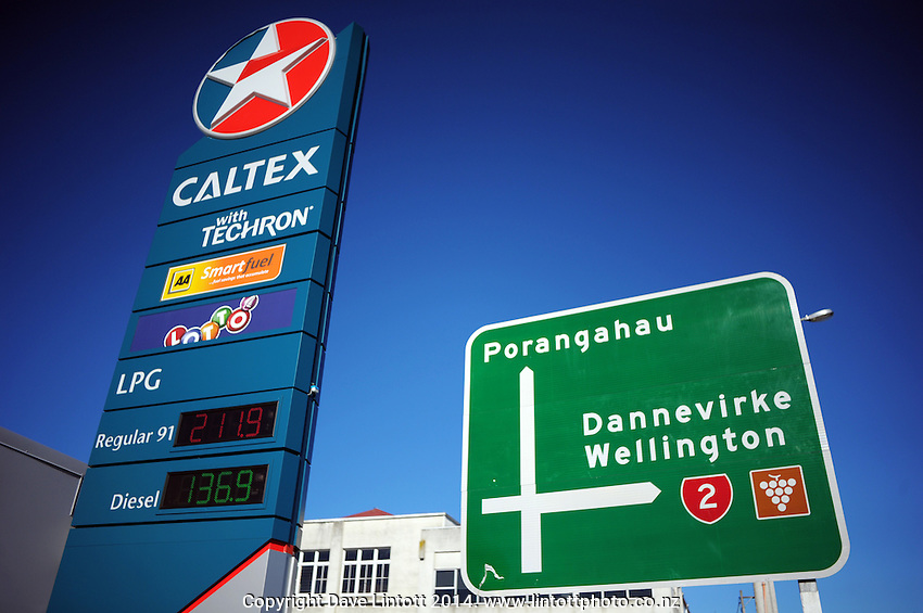 Petrol price sign at Caltex Service Station, Waipukarau, New Zealand on Sunday, 13 July 2014. Photo: Dave Lintott / lintottphoto.co.nz
