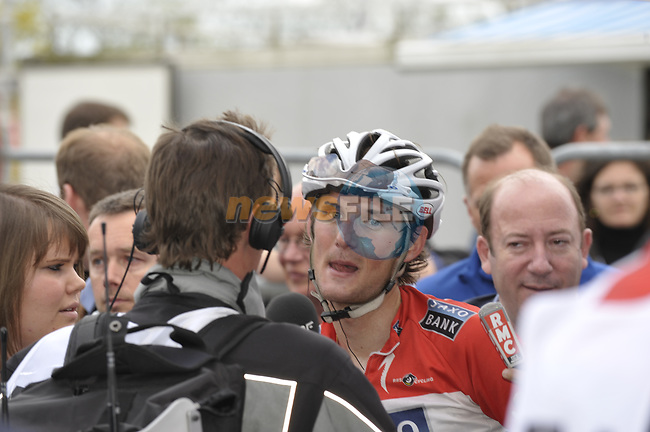 Franck Scheck (LUX) Saxo-Bank interviewed at the end of the 95th running of Liege-Bastogne-Liege cycle race, running 261km from Liege to Ans, Belgium. 26th April 2009 (Photo by Eoin Clarke/NEWSFILE)