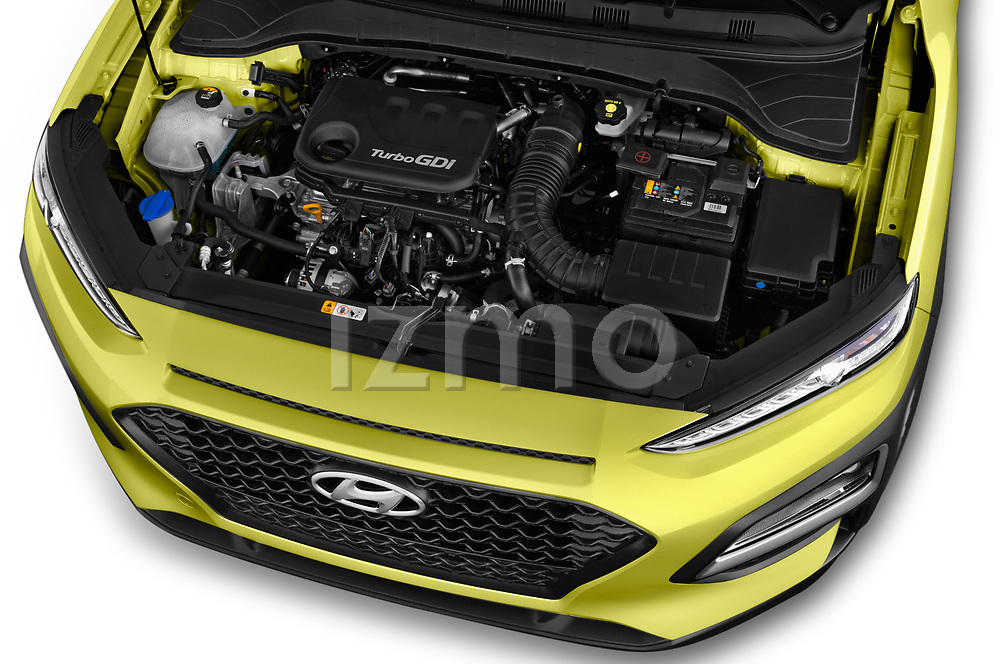 Car stock 2018 Hyundai Kona Twist 5 Door SUV engine high angle detail view