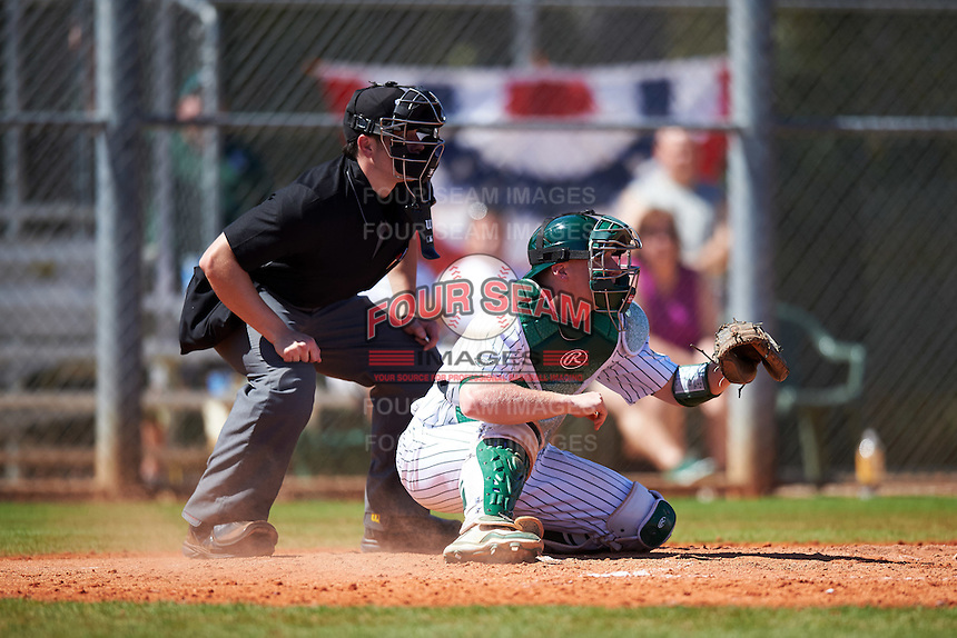 Umpire Mike Savakinas and Eastern Michigan Eagles catcher Jeremy Stidham (50) wait for the pitch during a game against the Dartmouth Big Green on February 25, 2017 at North Charlotte Regional Park in Port Charlotte, Florida.  Dartmouth defeated Eastern Michigan 8-4.  (Mike Janes/Four Seam Images)