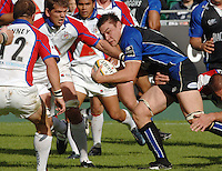 20,05/06 Powergen Cup Bath Rugby vs Bristol Rugby, bath No.8 Gareth Delve look's for support, as he attacks.  Bath, ENGLAND, 01.10.2005   © Peter Spurrier/Intersport Images - email images@intersport-images..
