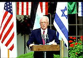 Washington, D.C. - July 25, 1994 -- Prime Minister Yitzhak Rabin of Israel makes remarks in the Rose Garden of the White House during a joint press conference with United States President Bill Clinton in Washington, D.C. on July 25, 1994.  Prime Minister Rabin was in Washington to sign the Washington Declaration with King Hussein of Jordan..Credit: Ron Sachs / CNP