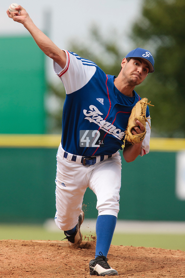 30 july 2010: Pitcher Joris Navarro pitches against Italy during Italy 9-2 win over France, in day 6 of the 2010 European Championship Seniors, at TV Cannstatt ballpark, in Stuttgart, Germany.
