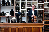 Riccardo Dolci, at the historic Borsalino store in Alessandria, Piemonte, Italy