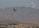 Vic McMann, left, and Chris LeFaver compete in the T-6 class during the National Championship Air Races in Reno, Nevada on Sunday, September 17, 2017.