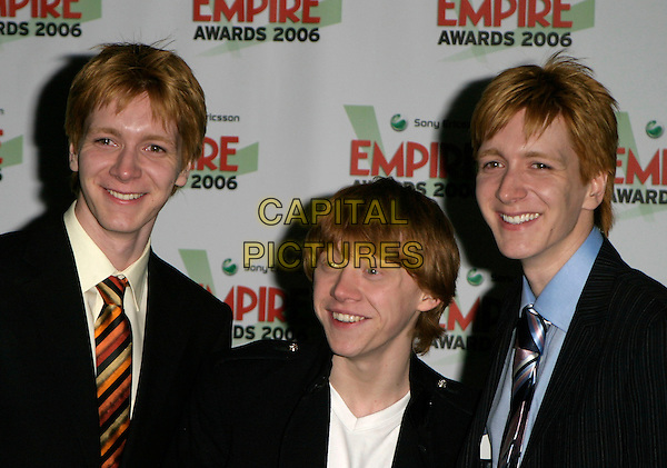 RUPERT GRINT & OLIVER & JAMES PHELPS.Sony Ericsson Empire Film Awards 2006,.Hilton London Metropole, Edgware Road, London,.England, March 13th 2006..half length twins harry potter ginger.Ref: AH.www.capitalpictures.com.sales@capitalpictures.com.©Adam Houghton/Capital Pictures.