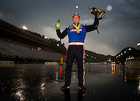 Jun 21, 2015; Bristol, TN, USA; NHRA top fuel driver Richie Crampton celebrates after winning the Thunder Valley Nationals at Bristol Dragway. Mandatory Credit: Mark J. Rebilas-USA TODAY Sports