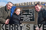 Kind words: Gerard Fitzgerald, Coolkearagh, (memorial group) Colette Nolan,.Listowel a direct descendant of James Nolan and memorial group member John.Dowling unveiling the James Nolan plaque at Gunsboro Cross on Friday.afternoon..   Copyright Kerry's Eye 2008