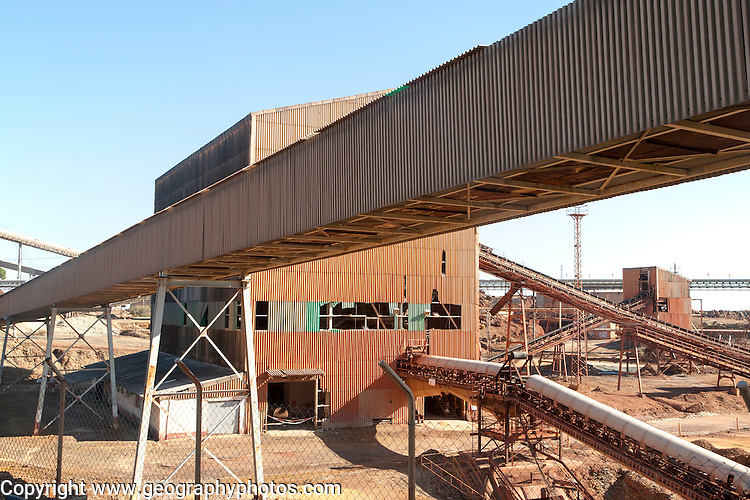 Heavy industry conveyor belts of opencast mineral extraction in the Minas de Riotinto mining area, Huelva province, Spain