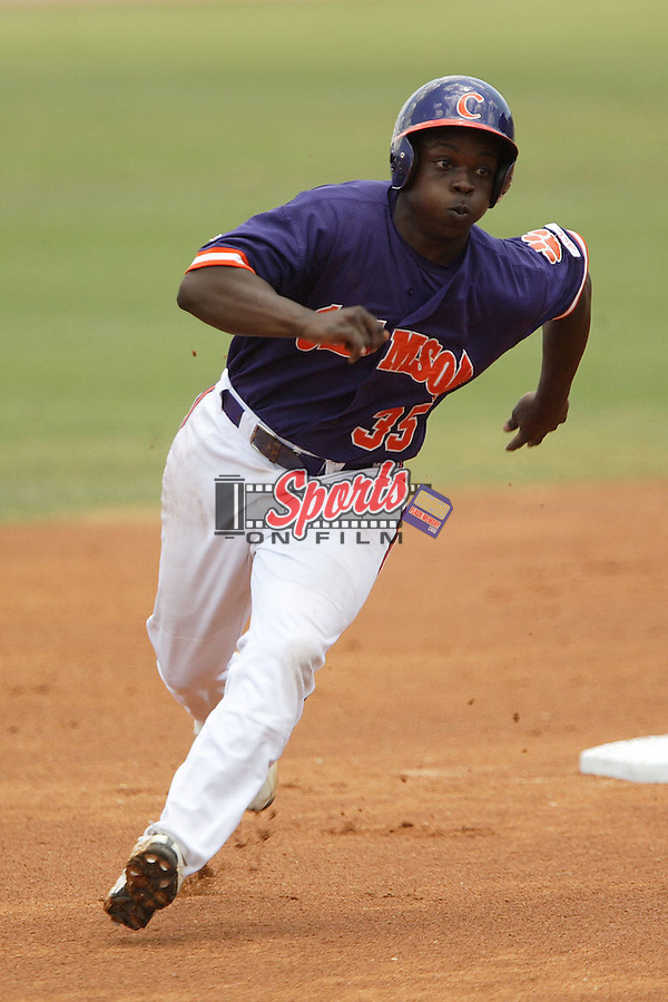 Clemson's Marquez Smith (35) rounds second base in game action versus Georgia Tech at the 2006 ACC Baseball Championship at the Baseball Grounds of Jacksonville in Jacksonville, FL, Saturday, May 27, 2006.  Georgia Tech defeated Clemson 8-7 in 10 innings.
