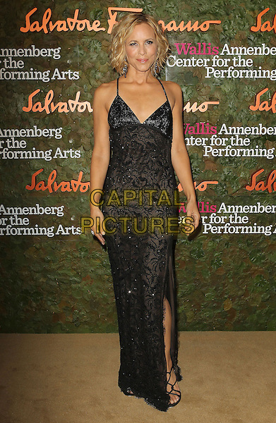 Maria Bello<br /> Wallis Annenberg Center For The Performing Arts Inaugural Gala held at Wallis Annenberg Center For The Performing Arts,  Beverly Hills, California, USA, 17th October 2013.<br /> full length black lace dress strappy hand on hip slit split long maxi <br /> CAP/ADM/KB<br /> &copy;Kevan Brooks/AdMedia/Capital Pictures