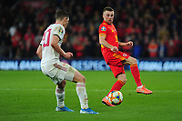 Joe Morrell of Wales in action during the UEFA Euro 2020 Group E Qualifier match between Wales and Hungary at the Cardiff City Stadium in Cardiff, Wales, UK. Tuesday 19th November 2019