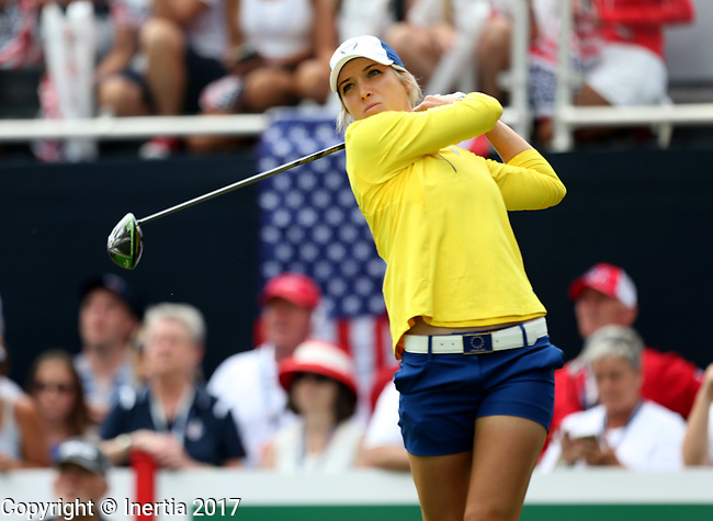 DES MOINES, IA - AUGUST 19: Europe's Mel Reid watches her tee shot on the 1st hole of their afternoon four-ball match Saturday at the 2017 Solheim Cup in Des Moines, IA. (Photo by Dave Eggen/Inertia)