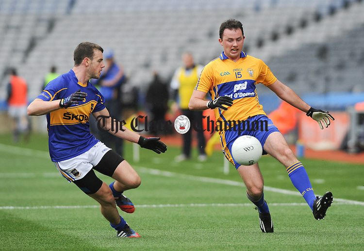 David Tubridy of Clare in action against Paddy Codd of Tipperary during the Division 4 League final in Croke Park. Photograph by John Kelly.