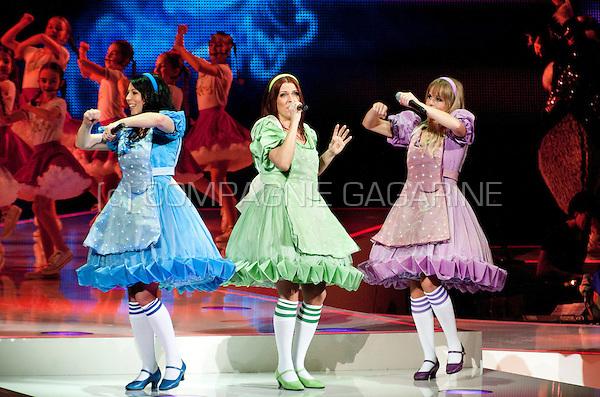 Flemish/Dutch children pop band K3 in concert in the Sportpaleis, Antwerp (Belgium, 03/03/2012)