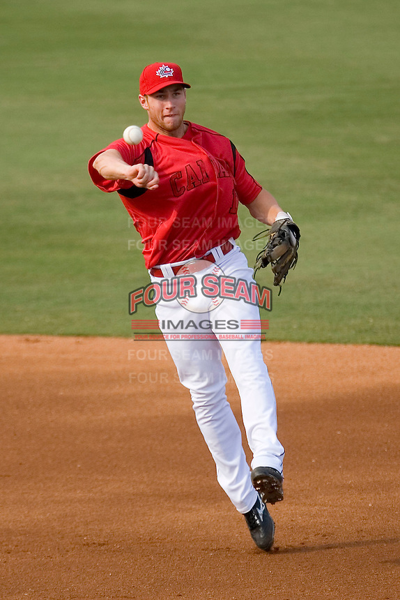 Second baseman Brett Lawrie #13 of Team Canada makes an off balance throw to first base against Team USA at the USA Baseball National Training Center, September 4, 2009 in Cary, North Carolina.  (Photo by Brian Westerholt / Four Seam Images)