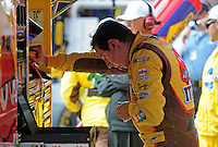Oct. 11, 2009; Fontana, CA, USA; NASCAR Sprint Cup Series driver Kyle Busch reacts after being pulled from his car due to flu like symptoms during the Pepsi 500 at Auto Club Speedway. Mandatory Credit: Mark J. Rebilas-