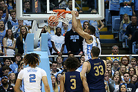 CHAPEL HILL, NC - NOVEMBER 06: Garrison Brooks #15 of the University of North Carolina dunks the ball during a game between Notre Dame and North Carolina at Dean E. Smith Center on November 06, 2019 in Chapel Hill, North Carolina.