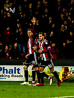 Sheffield United's defender Richard Stearman (19) scores goal number 2 of the season during the Sky Bet Championship match between Sheff United and Queens Park Rangers at Bramall Lane, Sheffield, England on 20 February 2018. Photo by Stephen Buckley / PRiME Media Images.