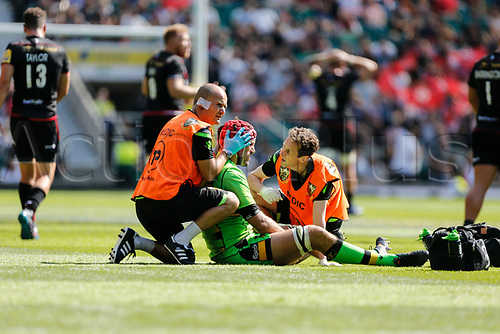 2nd September 2017, Twickenham, London, England; Aviva Premiership Rugby, Saracens versus Northampton; Christian Day of Northampton Saints receives treatment after a clash of heads