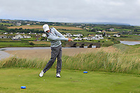 Marc Norton (Belvoir Park) on the 9th tee during Matchplay Round 1 of the South of Ireland Amateur Open Championship at LaHinch Golf Club on Friday 22nd July 2016.<br /> Picture:  Golffile | Thos Caffrey<br /> <br /> All photos usage must carry mandatory copyright credit   (© Golffile | Thos Caffrey)