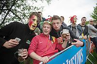 belgian fans await the peloton up La Redoute (max 22%)<br /> beers in hand<br /> <br /> Liège-Bastogne-Liège 2014