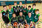 Mercy Mounthawk students, where 5 of their teams are contesting upcoming National Basketball Semi-finals.  <br />  Kneeling l-r, Coaches, Lyndsey Moriarty, John Dowling and Liam Culloty.<br /> Standing l to r: Philip Corkery (U19 Captain), Jack Dakassia (U15 Joint Captain), Tim and Sean Pollmann-Daamen (U16 Captains), Cora Savage (U16 Captain),    Sean Rice and Cian Moran (U14 Joint Captains) and  Eddie Sheehy (U15 Joint Captain).