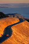 Car on the Panoramic Highway mountain road over the Pacific Ocean, Mount Tamalpais, Marin County, California