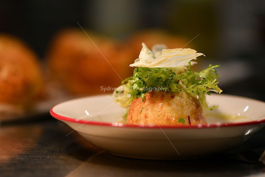 A goats cheese soufflé at a dinner featuring Will Studd and Philippe Mouchel at Philippe Restaurant in Melbourne, Australia on 12 September 2017. Photo Sydney Low