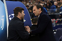 Tottenham Hotspur manager Mauricio Pochettino and Juventus coach Massimiliano Allegri during Tottenham Hotspur vs Juventus, UEFA Champions League Football at Wembley Stadium on 7th March 2018